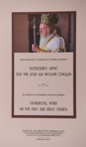 Patriarchal Word on the Holy and Great Synod