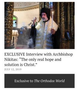 Interview of Archbishop Nikitas to The Orthodox World