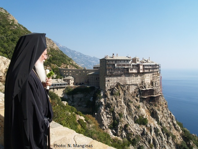 His All-Holiness Patriarch Bartholomew visiting Mount Athos.