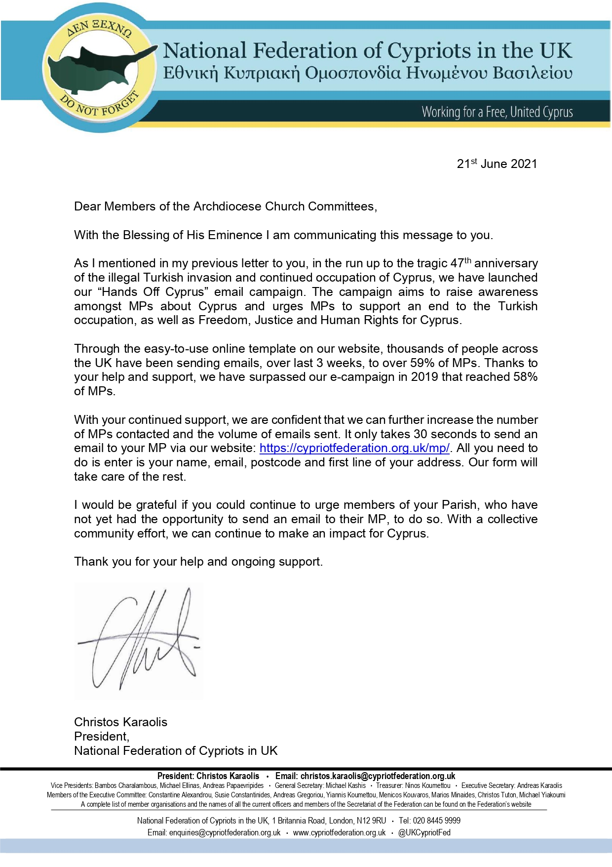 Cypriot Federation Email Campaign